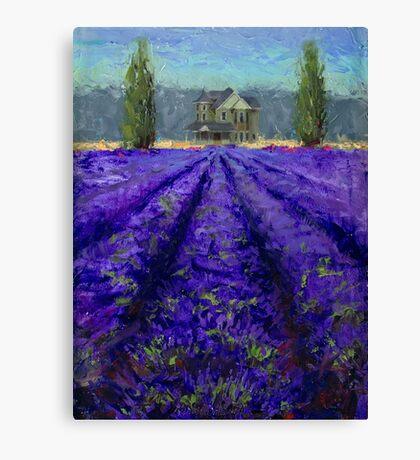 Plein Air Lavender Landscape and Farm House Impressionistic Painting Canvas Print
