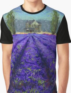 Plein Air Lavender Landscape and Farm House Impressionistic Painting Graphic T-Shirt