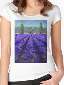 Plein Air Lavender Landscape and Farm House Impressionistic Painting Women's Fitted Scoop T-Shirt