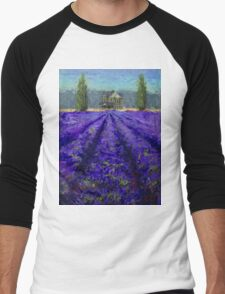 Plein Air Lavender Landscape and Farm House Impressionistic Painting Men's Baseball ¾ T-Shirt