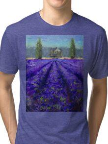 Plein Air Lavender Landscape and Farm House Impressionistic Painting Tri-blend T-Shirt