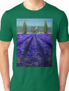 Plein Air Lavender Landscape and Farm House Impressionistic Painting Unisex T-Shirt