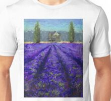 Plein Air Lavender Landscape and Farm House Impressionistic Painting Unisex T-Shirt