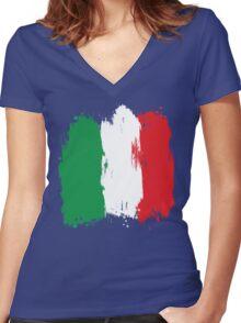 Italy - Paint Splatter Women's Fitted V-Neck T-Shirt