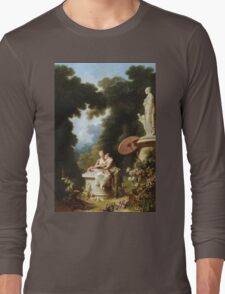 Jean-Honore Fragonard - Love Letters. Lovers portrait: sensual woman, woman and man, kiss, kissing lovers, love relations, lovely couple, family, valentine's day, sexy, romance, female and male Long Sleeve T-Shirt