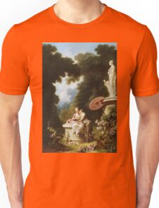 Jean-Honore Fragonard - Love Letters. Lovers portrait: sensual woman, woman and man, kiss, kissing lovers, love relations, lovely couple, family, valentine's day, sexy, romance, female and male Unisex T-Shirt