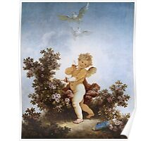 Jean-Honore Fragonard - Love The Sentinel 1790. Child portrait: cute baby, kid, children, pretty angel, child, kids, lovely family, boys and girls, boy and girl, mom mum mammy mam, childhood Poster