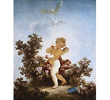 Jean-Honore Fragonard - Love The Sentinel 1790. Child portrait: cute baby, kid, children, pretty angel, child, kids, lovely family, boys and girls, boy and girl, mom mum mammy mam, childhood Photographic Print