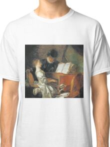 Jean-Honore Fragonard - The Music Lesson. Girl portrait: cute girl, girly, female, pretty angel, child, beautiful dress, face with hairs, smile, little, kids, baby Classic T-Shirt