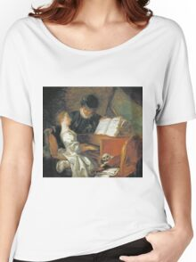 Jean-Honore Fragonard - The Music Lesson. Girl portrait: cute girl, girly, female, pretty angel, child, beautiful dress, face with hairs, smile, little, kids, baby Women's Relaxed Fit T-Shirt