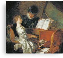 Jean-Honore Fragonard - The Music Lesson. Girl portrait: cute girl, girly, female, pretty angel, child, beautiful dress, face with hairs, smile, little, kids, baby Canvas Print