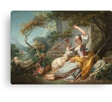Jean-Honore Fragonard - The Shepherdess 1750. Girl portrait: cute girl, girly, female, pretty angel, child, beautiful dress, face with hairs, smile, little, kids, baby Canvas Print