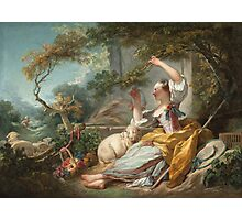 Jean-Honore Fragonard - The Shepherdess 1750. Girl portrait: cute girl, girly, female, pretty angel, child, beautiful dress, face with hairs, smile, little, kids, baby Photographic Print