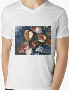 Orange and Yellow Autumn Leaves Painting Mens V-Neck T-Shirt