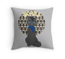 Catlock is Bored Throw Pillow