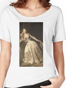 Jean-Honore Fragonard - The Stolen Kiss. Lovers portrait: sensual woman, woman and man, kiss, kissing lovers, love relations, lovely couple, family, valentine's day, sexy, romance, female and male Women's Relaxed Fit T-Shirt