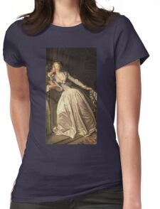 Jean-Honore Fragonard - The Stolen Kiss. Lovers portrait: sensual woman, woman and man, kiss, kissing lovers, love relations, lovely couple, family, valentine's day, sexy, romance, female and male Womens Fitted T-Shirt