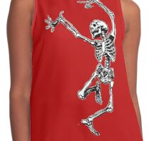 Dancing Skeleton - Transparent Background Contrast Tank