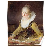 Jean-Honore Fragonard - The Study, Or The Song. Woman portrait: sensual woman, girly art, female style, pretty women, femine, beautiful dress, cute, creativity, love, sexy lady, erotic pose Poster