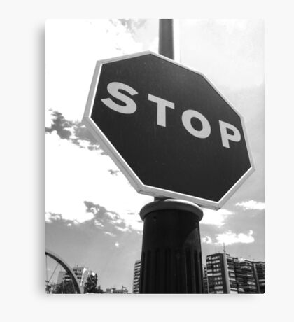 Stop Sign - B & W Canvas Print