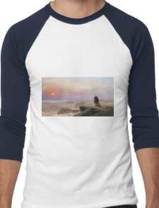 Jean-Leon Gerome - The Two Majesties. Sea landscape: sea view, mountains, calm sea, king of beasts, coast seaside, sunset, marin, seascape, sun clouds, nautical panorama, lion Men's Baseball ¾ T-Shirt