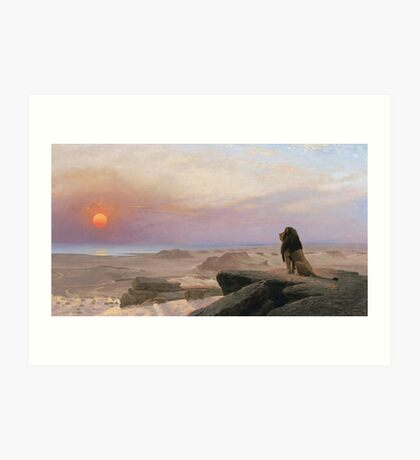 Jean-Leon Gerome - The Two Majesties. Sea landscape: sea view, mountains, calm sea, king of beasts, coast seaside, sunset, marin, seascape, sun clouds, nautical panorama, lion Art Print