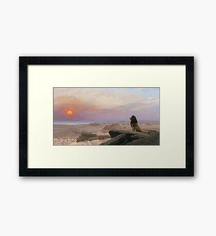 Jean-Leon Gerome - The Two Majesties. Sea landscape: sea view, mountains, calm sea, king of beasts, coast seaside, sunset, marin, seascape, sun clouds, nautical panorama, lion Framed Print