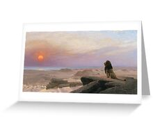 Jean-Leon Gerome - The Two Majesties. Sea landscape: sea view, mountains, calm sea, king of beasts, coast seaside, sunset, marin, seascape, sun clouds, nautical panorama, lion Greeting Card