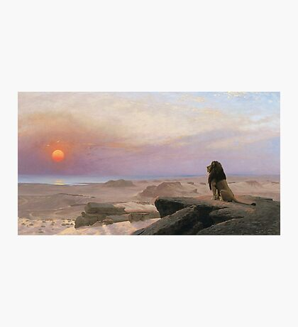 Jean-Leon Gerome - The Two Majesties. Sea landscape: sea view, mountains, calm sea, king of beasts, coast seaside, sunset, marin, seascape, sun clouds, nautical panorama, lion Photographic Print
