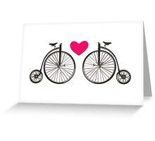 Vintage bicycle love design Greeting Card