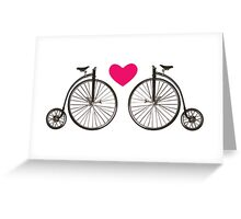 Vintage bicycle love design Greeting Card