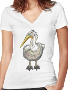 Artistic pelican bird drawing design Women's Fitted V-Neck T-Shirt