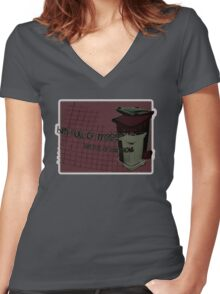 bin full of maggots Women's Fitted V-Neck T-Shirt