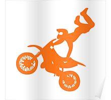 Simple orange dirt bike motocross design Poster