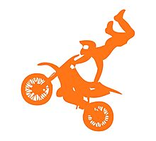 Simple orange dirt bike motocross design Photographic Print