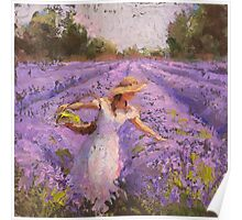 Woman Picking Lavender In A Field In A White Dress - Lady Lavender - Plein Air Painting Poster