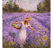 Woman Picking Lavender In A Field In A White Dress - Lady Lavender - Plein Air Painting Photographic Print