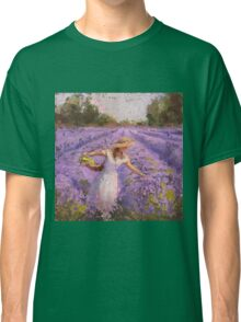 Woman Picking Lavender In A Field In A White Dress - Lady Lavender - Plein Air Painting Classic T-Shirt