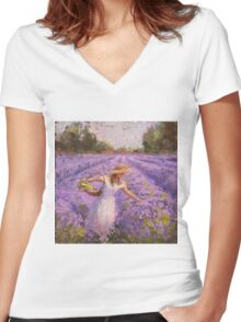 Woman Picking Lavender In A Field In A White Dress - Lady Lavender - Plein Air Painting Women's Fitted V-Neck T-Shirt