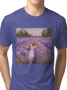 Woman Picking Lavender In A Field In A White Dress - Lady Lavender - Plein Air Painting Tri-blend T-Shirt