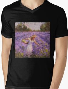 Woman Picking Lavender In A Field In A White Dress - Lady Lavender - Plein Air Painting Mens V-Neck T-Shirt