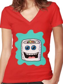 Funny Sushi Cartoon  Women's Fitted V-Neck T-Shirt