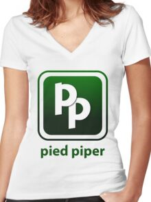 Pied Piper New Logo Shirt for Tech Crunch Disrupt Women's Fitted V-Neck T-Shirt
