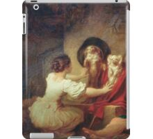 Jean-Honore Fragonard - Education Is All. Dog painting: cute dog, dogs, doggy, lucky, pets, wild life, animal, smile, little small, kids, nature iPad Case/Skin