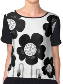 Black and white simple Flower background Chiffon Top