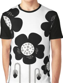 Black and white simple Flower background Graphic T-Shirt