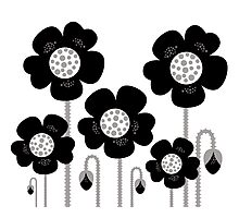 Black and white simple Flower background Photographic Print