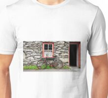 rural old stone cottage house bicycle countryside ireland Unisex T-Shirt