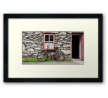 rural old stone cottage house bicycle countryside ireland Framed Print