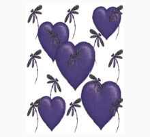 Love Hearts and Dragonflies Purple Kids Clothes